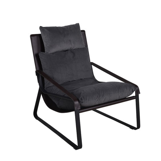 Iron Metal Frame Microfiber Leather Leisure Chair with Armrest and Plush Fabric Duck Down Cushions