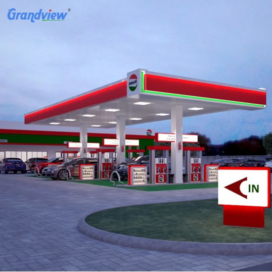 Steel Structure Canopy Roof Pylon Advertising Gas Price Sign Pillar for Brand Gas Station