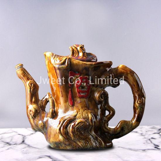 OEM Irregular Shape Engraving 700ml Brandy Ceramic Bottle