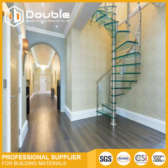 Customized Spiral Staircase Wood Stairs Design With Glass Railing