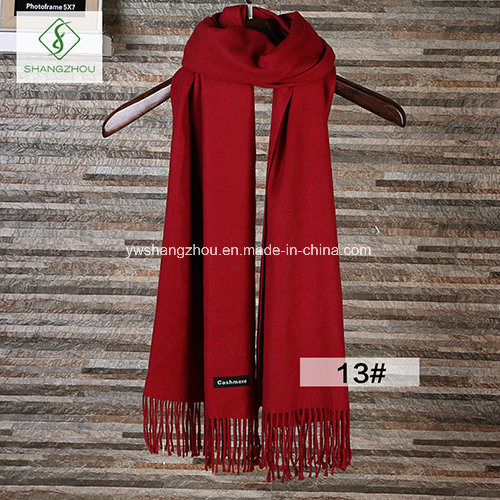 Fashion Lady Soft Cashmere Shawl Long Plain Scarf with Tassel Winter pictures & photos