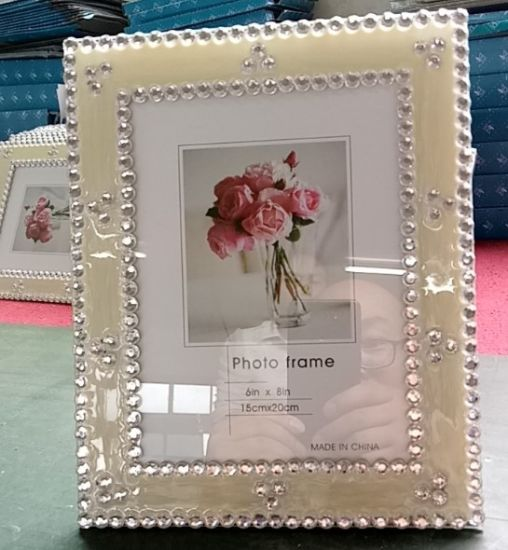 New Arrival Style MDF Wood Collage Diamond Crystal Glass Flower Picture Image Photo Frame