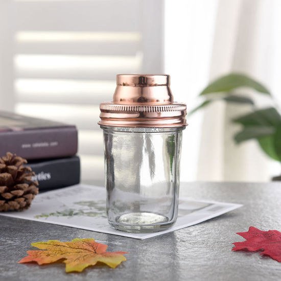 Square Shape Mason Jar with Metal Shaker