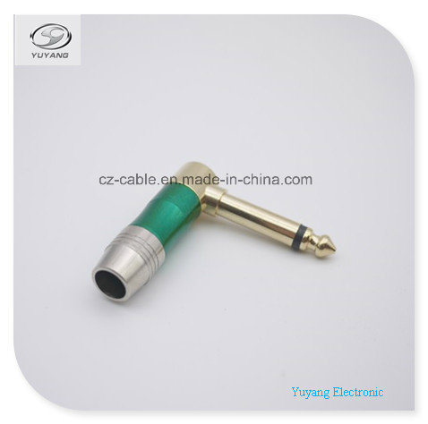 6.35mm/6.35 (1/4 inch) Mono Plug/Adapter for Microphone/Speaker/Loud-Speaker, Right Angle pictures & photos