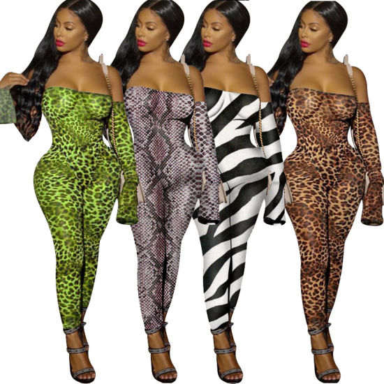 Long Sleeve Jumpsuit Mesh Bodysuit Legging Set Animal Printed Apparel