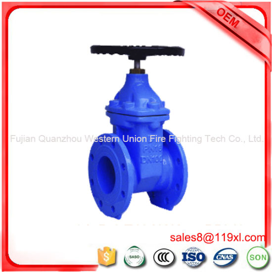 Cast Iron Rubber Wedge Non-Rising Stem Gate Valve