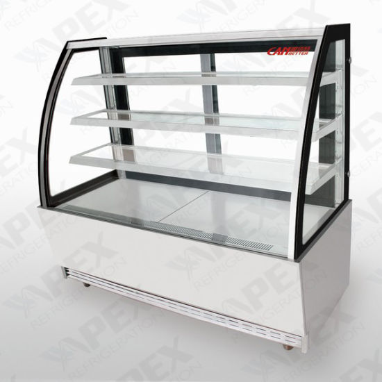 China Curved Glass Door Cake Showcase Display Cooler For Sale
