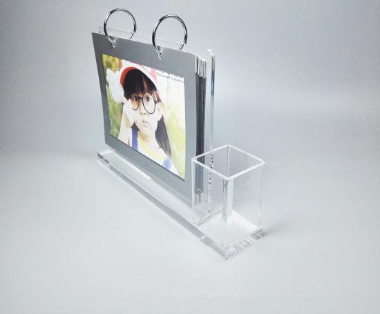Acrylic Plastic Desk Calendar Stand With Pen Holder