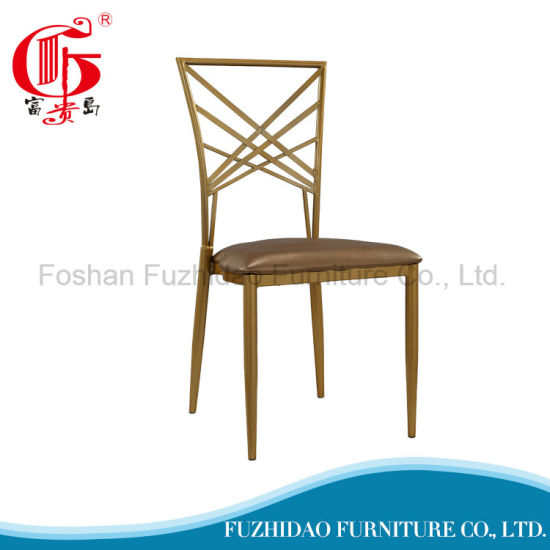 Modern Cross Back Gold Metal Wedding Chair With Cushion