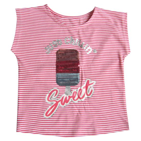 Children Clothes Sequin Embroidery and Print Y/D Stripe Girl Short Sleeve T-Shirt