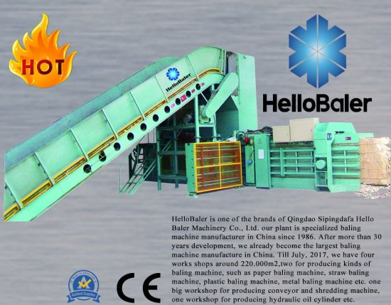 Hello baler brand automatic baler for baling packaging strapping waste paper pulp cardboard carton plastic scrpas hay grass straw metal tyre recycling