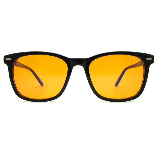 Hot Selling Rectangle Fit Acetate Computer Glasses Eyewear Anti UV400 Anti Blue Light Blocking Orange Lens