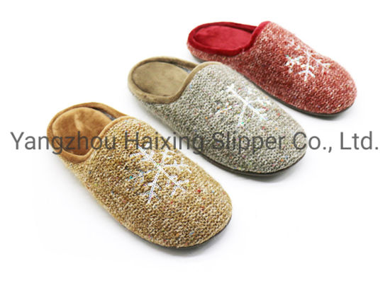 Snow Flower Embroidery Slippers Winter Warm Indoor Slippers for Ladies