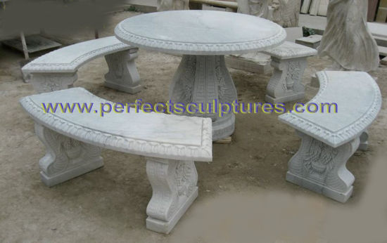 Antique Garden Stone Marble Table Chair for Garden Decoration (QTS016) pictures & photos