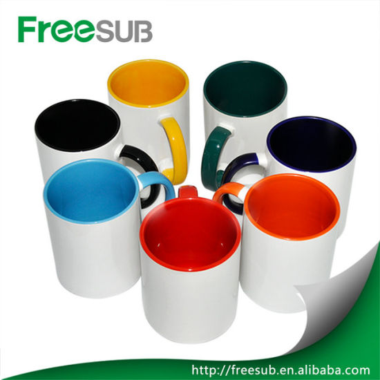 Promotional Gifts Wholesale Inner Red Color Ceramic Sublimation Mug Blank