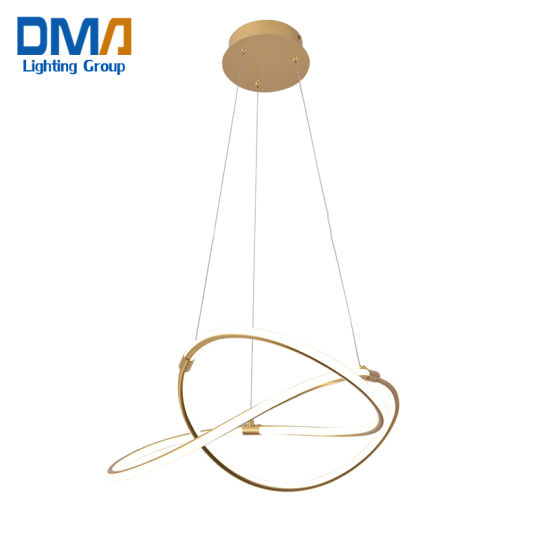 New Style Golden Creative Ring Design Acrylic LED Chandelier Chandelier Lamp