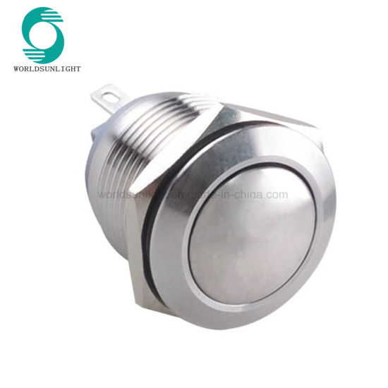 19mm 2 Pins 1no Ball Dome Head Short Body Type Reset Non-Illuminated Metal Push Button Switch
