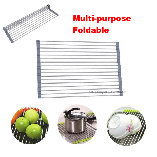 Large Durable Stainless Steel Roll up Dish Drying Rack pictures & photos