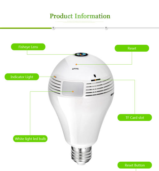 China 1 3/2/3/5MP Wireless Bulb WiFi Fisheye Network IP CCTV