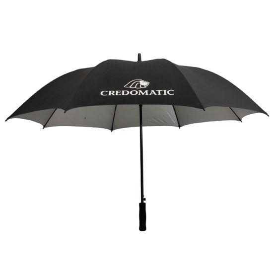 UV Coated Fiberglass Frame Golf Umbrella White Printing Logo Long Straight Umbrella Outdoor Umbrella