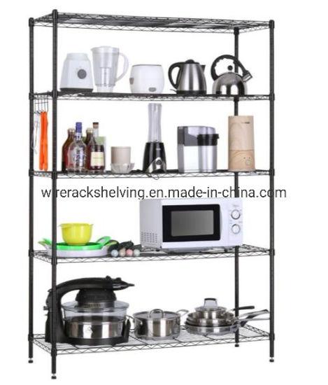 Heavy Duty Steel Wire Shelving Unit Storage Rack Chrome Wheel Kitchen Wine Metal Household Supplies Cleaning Home Organization