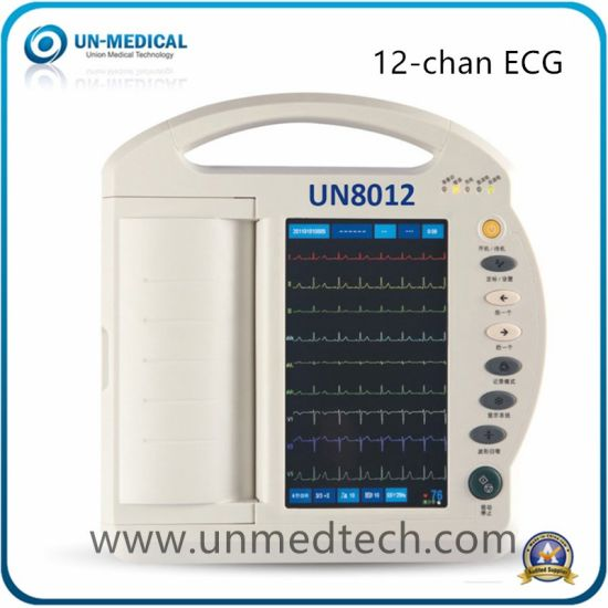 12 Channels Touch Screen Digital Electrocardiograph Portable ECG Machine