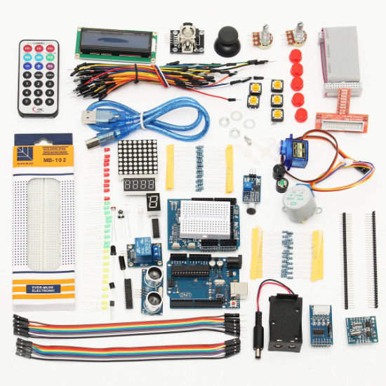 Super Starter Kit with CD Tutorial for Arduinos Uno R3 Starter Kit 1602 LCD Servo Ultrasonic Mot