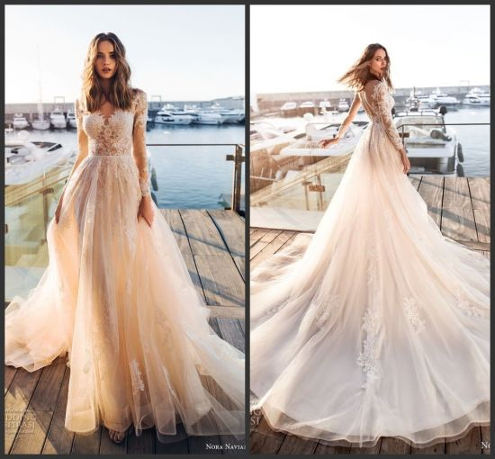 China Long Sleeves Bridal Gowns Lace Beach Wedding Dress 2019