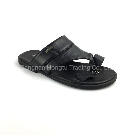 Genuine Leather Strap Sandal (Black) pictures & photos