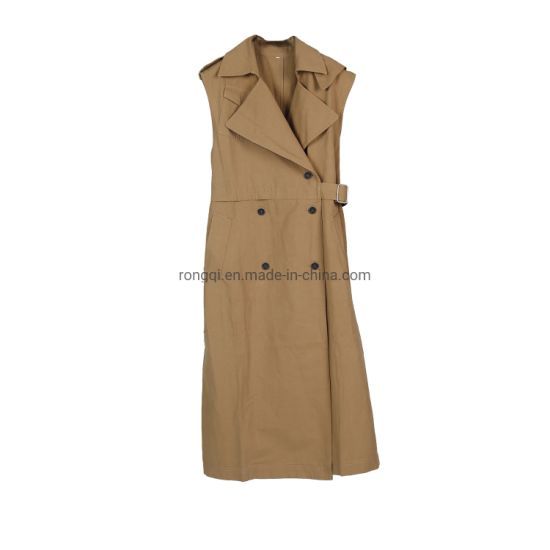 Ladies Long Without Sleeves Trenchcoat