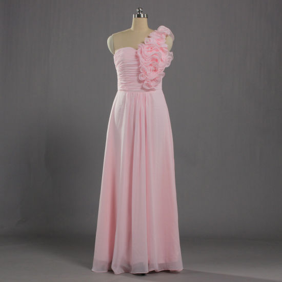E624 New Design Long Pink Chiffon One Shoulder Bridesmaid Gown for Juniors