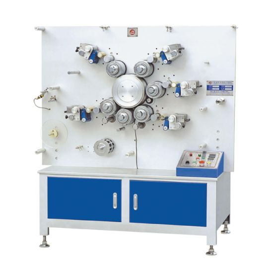 (JS-1041B) 1 Year Warranty 4+1 Colors Automatic Trademark Textile Polyester Satin Ribbon Rotary Label Printing Machine for Nylon Taffeta, Cotton Tape and Paper