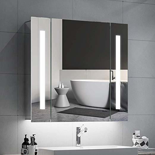 Double Door Wall Mounted Semi Recessed Bathroom Aluminum Led