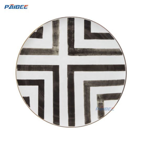 Paibee 12'' Whie and Black Charger Plate Dinner Plate Home Plate Bone China Charger Plate Wedding Plate
