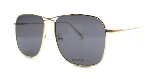 Oversized Square Stainless Steel Sunglasses Frame, Shiny Gold Metal Frame UV Protection Lens