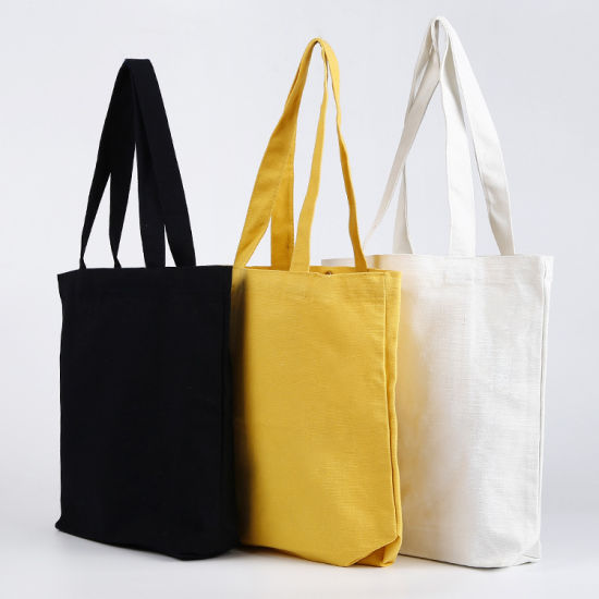 Wholesale Plain Fashion Shopping Zipper Print Women Cotton Canvas Tote Bag with Custom Printed Logo