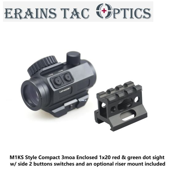 Erains M1ks Style 3moa Tactical Hunting Compact DOT Sight Enclosed 1X20 Side 2 Buttons Switches and Riser Mount Included Red and Green DOT Scope