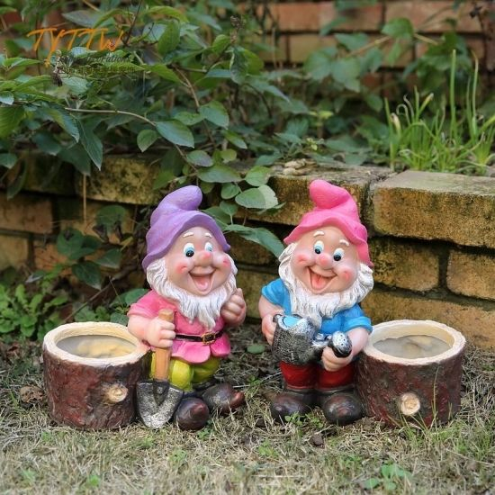 Polyresin Sculpture Gnome Plant Pot Resin Craft for Decoration