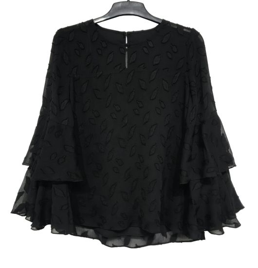 Black Color Ladies Plus Size Blouse with Ruffle Sleeve