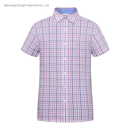Men's Fashion Business Casual Plaid Short Sleeve Shirt