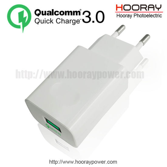 Hooray Us/EU Plug QC3.0 Adapter Qualcomm Quick Charge Mobile Phone Accessories QC 3.0 Mobile Charger USB Power Supply 5V3.1A Travel Charger Fast Wall Charger pictures & photos