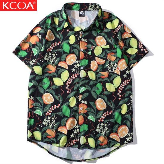 Wholesale Comfortable Plus Size Short Sleeve Printed Hawaiian Men Shirt