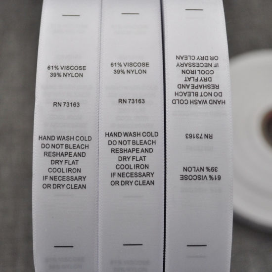 Woven Edge Polyester Satin Care Label in Roll with Printng