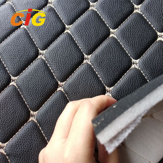 Quilted Diamond Stitching PU PVC Synthetic Embroidery Leather for Car Seat for Furniture