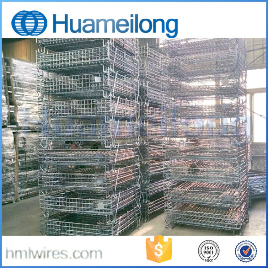 Metal Folding Stacking Storage Cage for Warehouse pictures & photos