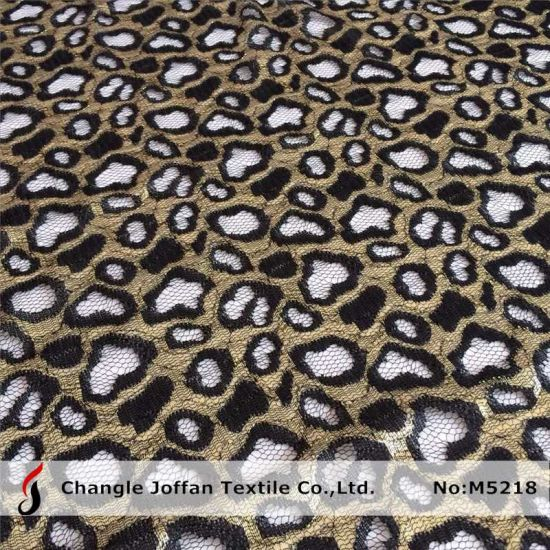 China Gold Leopard Print Lace Fabric M5218 China Gold Lace