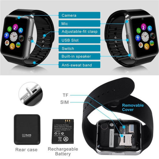 Touch Screen Bluetooth Smart Fashion Watch with Sleep Monitoring (GT08) pictures & photos
