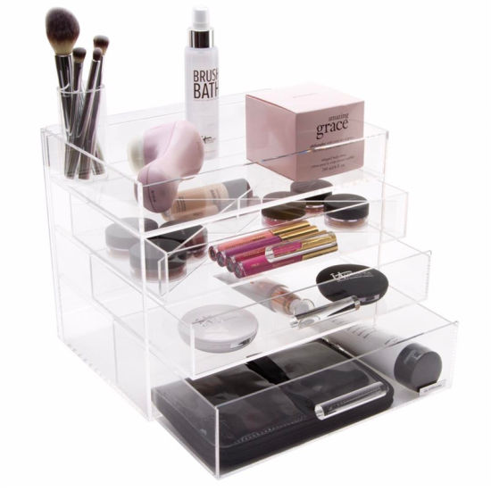 Cube Acrylic Makeup Organizer Box With