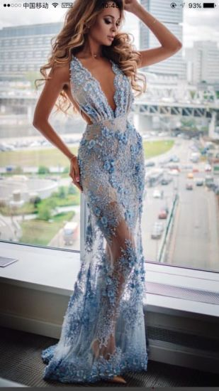 8005f14fbe Blue Embroidery Mesh Maxi Evening Dress Lady High Quality Long Dress Summer