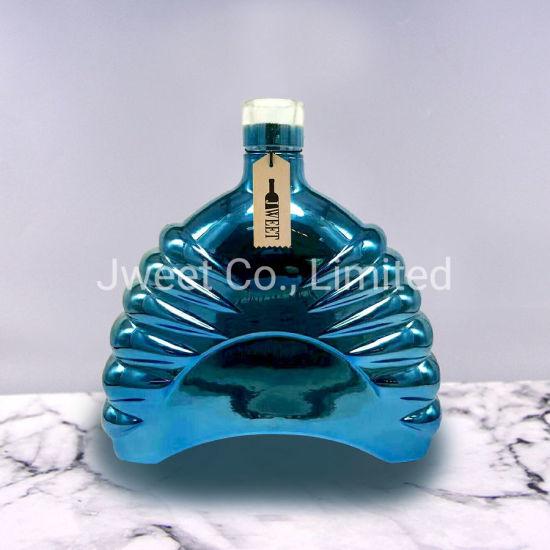 OEM Irregular Shape Electroplating Blue Brandy Glass Bottle with Cork